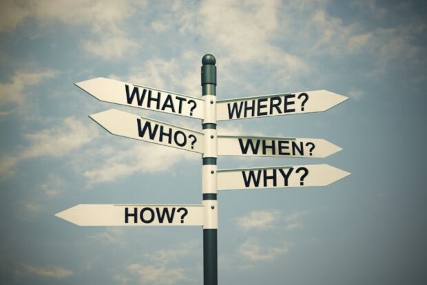 A signpost displaying words including What, Who, Where, Why